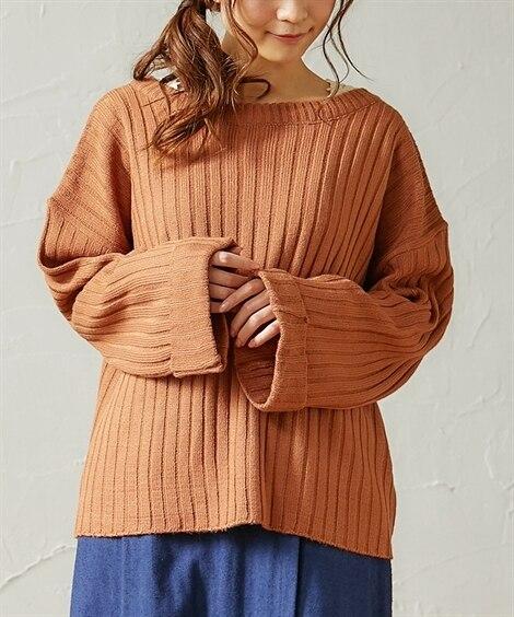 全6色 ワイドリブ 袖折り返しゆったりニットセーター (ニッ...