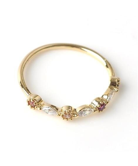 【Creamdot.】乙女心をくすぐる、色鮮やかなカラービジューリング 指輪(リング)