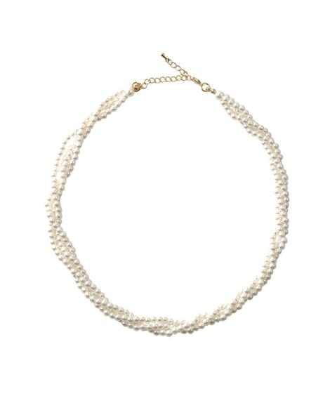 【Creamdot.】程よいボリューム感が華やかなツイストパール風ネックレス ネックレス(ペンダント)