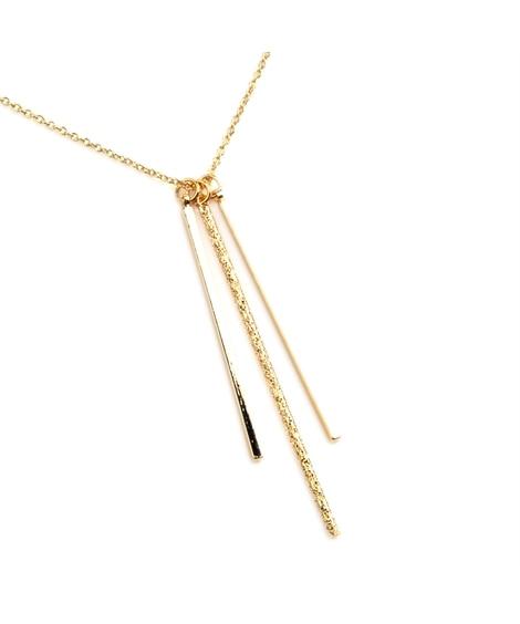 【Creamdot.】クールに印象付けるプレートバーのロングネックレス ネックレス(ペンダント)
