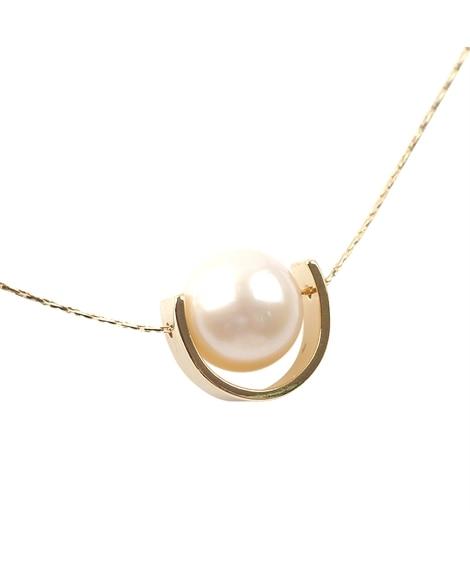 【Creamdot.】艶めく半月プレート×淡水パールのロングネックレス ネックレス(ペンダント)