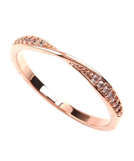 【Creamdot.】洗練された印象、ひねりを効かせたビジューリング 指輪(リング)