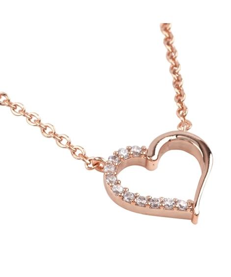 【Creamdot.】ビジューラインが女心をくすぐる、ハートネックレス ネックレス(ペンダント)