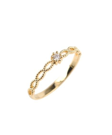 【Creamdot.】一粒ビジューのツイスト&シンプルリング 指輪(リング)