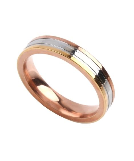 【Creamdot.】色褪せない輝き、ステンレス製MIXカラーペアリング 指輪(リング)