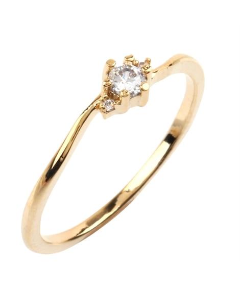 【Creamdot.】緩やかなひねりが優美な、ストリームラインビジューリング 指輪(リング)