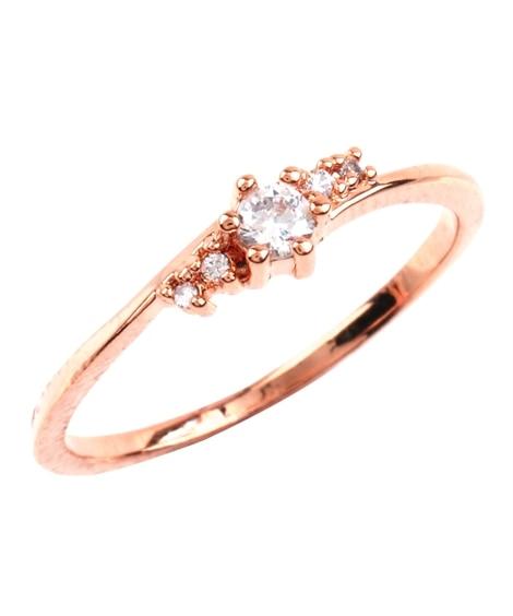 【Creamdot.】フェミニンな手元を演出する、華奢ビジューリング 指輪(リング)