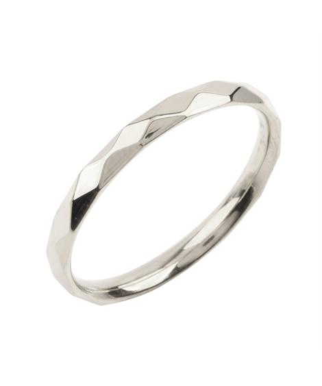 【Creamdot.】シンプルなステンレス製ダイヤカットペアリング 指輪(リング)