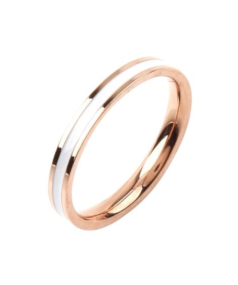 【Creamdot.】扱いやすいステンレス製、シンプルラインペアリング 指輪(リング)