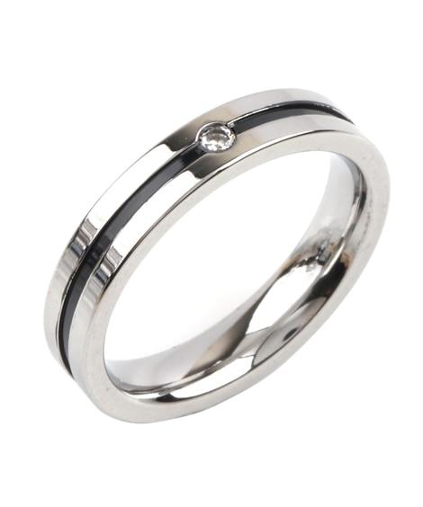 【Creamdot.】ビジューが煌めくステンレス製シンプルラインペアリング 指輪(リング)