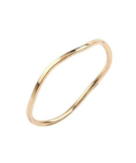 【Creamdot.】華奢ラインのステンレス製ウェーブデザインリング 指輪(リング)