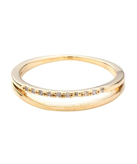 【Creamdot.】手元を上品に彩るレイヤード風ラインストーンリング 指輪(リング)