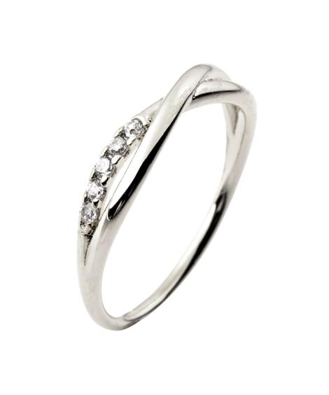 【Creamdot.】アシンメトリーなラインストーンクロス華奢リング 指輪(リング)