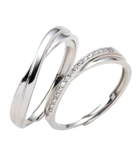 【Creamdot.】ワンランク上の輝き、シルバー925のクロスラインペアリング 指輪(リング)