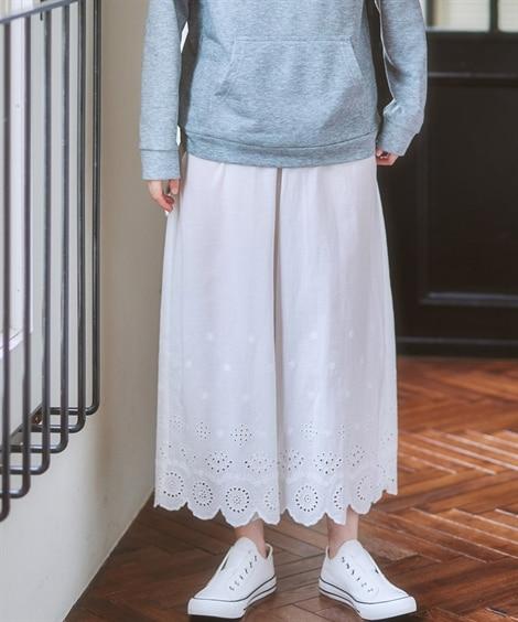 裾レース刺しゅう付ペチパンツ (レディースパンツ)Pants