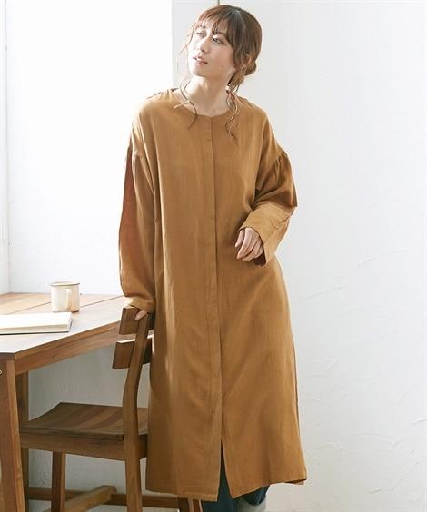 【20春夏】綿麻 ノーカラーシャツコートジャケット (コート...