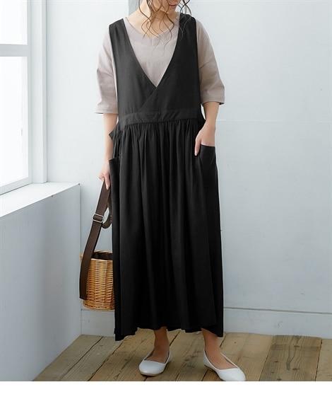 【お出かけできる家事服】便利ポケット付ジャンパースカート (ワンピース)Dress