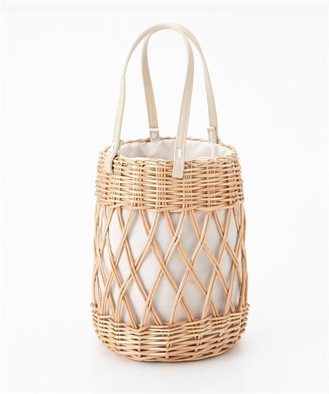 編み柳巾着付かごバッグ トートバッグ・手提げバッグ, Bags