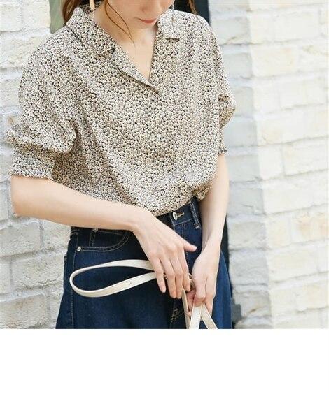 【frames RAY CASSIN フレームス レイカズン】小花柄開襟ブラウス (ブラウス),Blouses, Shirts
