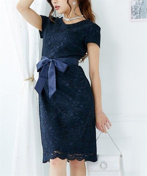 Vネック総レースタイトキャバドレス(ミニドレス。Sサイズ。M...