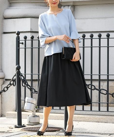 2点セットドレス(バックレースブラウス+フレアスカート)【結...