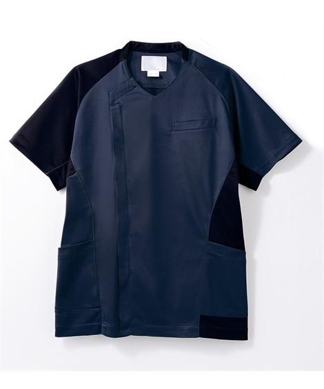 asics CHM855-39 半袖スクラブ(メンズ) ナースウェア・白衣・介護ウェア