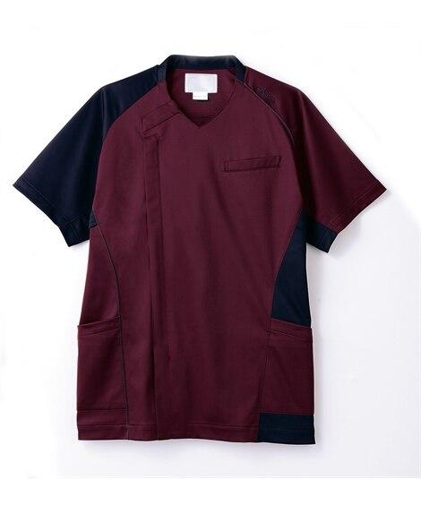 asics CHM855-89 半袖スクラブ(メンズ) ナースウェア・白衣・介護ウェア