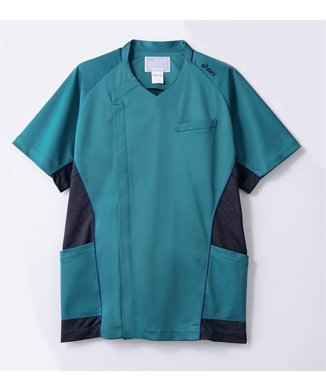 asics CHM856-49 半袖スクラブ(メンズ) ナースウェア・白衣・介護ウェア