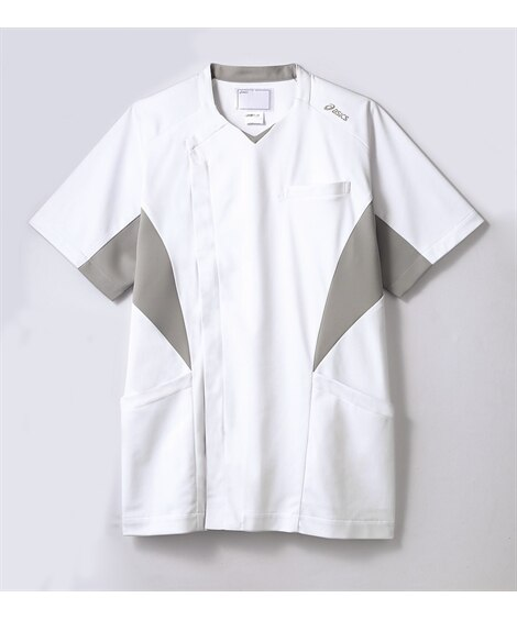 asics CHM857-10 半袖スクラブ(メンズ) ナースウェア・白衣・介護ウェア