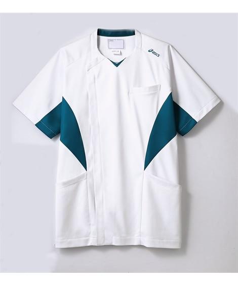 asics CHM857-14 半袖スクラブ(メンズ) ナースウェア・白衣・介護ウェア