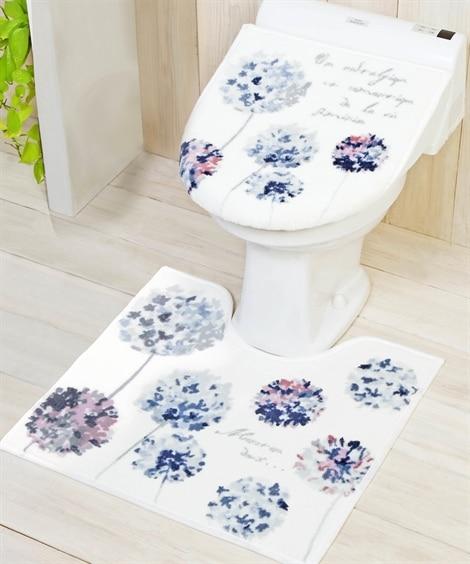 トイレマットセット フラワー柄 (兼用フタカバー) トイレマット&フタカバーセット, Toilet goods(ニッセン、nissen)
