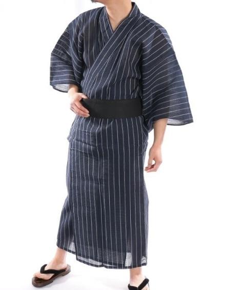 しじら織 浴衣3点セット(浴衣。帯。下駄) メンズパジャマ