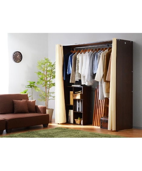 4色から選べる!伸縮式木製壁面ワイドクローゼットハンガー ハンガーラック・ワードローブ, Clothes racks(ニッセン、nissen)