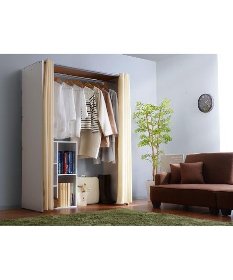 【荷造送料0円実施中】4色から選べる!伸縮式木製壁面ワイドクローゼットハンガー ハンガーラック・ワードローブ, Clothes racks(ニッセン、nissen)
