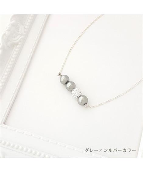 【Rdays】パヴェボール & コットンパール ラインネックレス ネックレス(ペンダント)