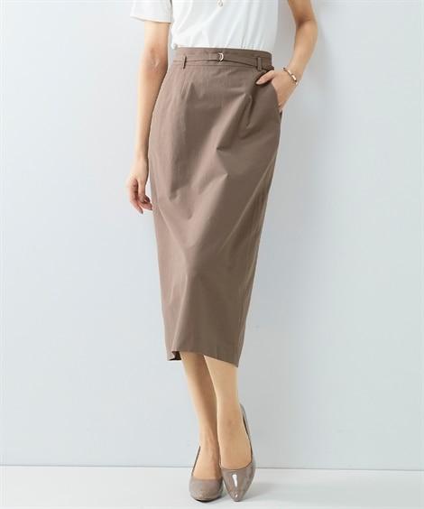 【レディーススーツ】セットアップ対応ベルト付タイトスカート(上下別売・綿麻混うすカルストレッチ素材シリーズ) レディーススーツ, women's suits,  plus size women's suits