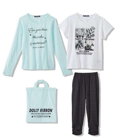4点セット(長袖Tシャツ+半袖Tシャツ+パンツ+バッグ)(女の子 子供服・ジュニア服) (Tシャツ・カットソー)Kids' T-shirts