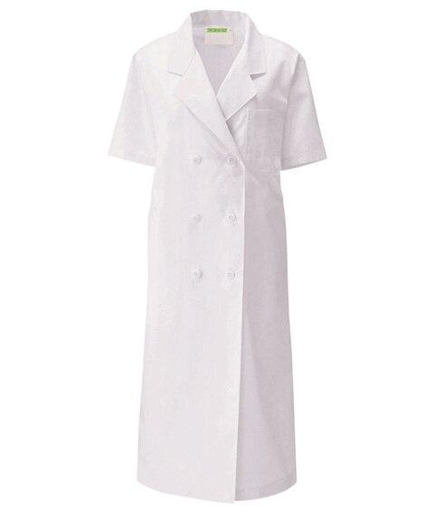 127 KAZEN レディス診察衣W型 半袖 ナースウェア・白衣・介護ウェア