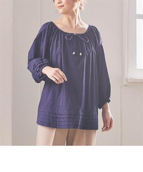 大きいサイズ 綿100%カットドビータック使いスモックブラウス ,スマイルランド, plus size shirts,