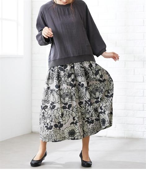 大きいサイズ 麻綿大花プリントフレアーロングスカート(OtonaSMILE) ,スマイルランド, スカート, plus size skirts