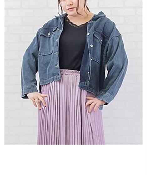 【大きいサイズ】 バックリボンデニムジャケット コート, p...