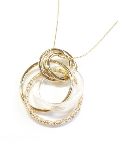 【melange メランジェ】マーブル調×メタルワントップロングネックレス ネックレス(ペンダント)