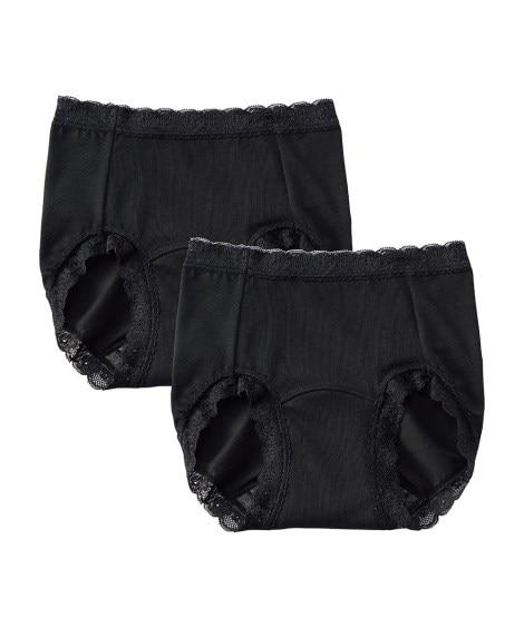 デュアルマジック サニタリーにも生理日前後にも使える!やや深ばき吸水ショーツ2枚組(羽付ナプキン対応)(L) サニタリー(生理用ショーツ)Panties