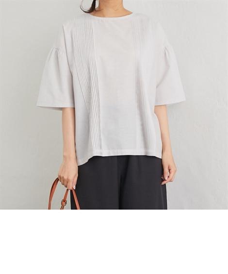 綿麻ピンタックブラウス (ブラウス)Blouses, Shirts,