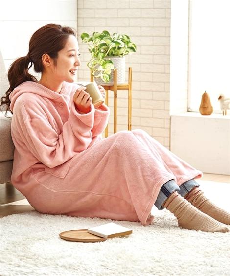 マイクロふんわりフード付着る毛布