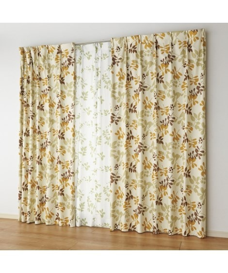 リーフ柄遮熱。防音。1級遮光カーテン&夕方まで見えにくい。UVカットレース4枚セット カーテン&レースセット, Curtains, sheer curtains, net curtains(ニッセン、nissen)