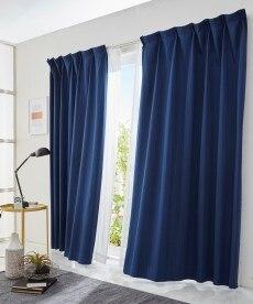 全サイズ均一価格。杢調ストライプ刺しゅう遮光カーテンの小イメージ