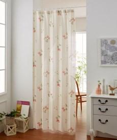 パタパタたためて幅丈調節出来る2Way間仕切りいちご柄カーテン のれん・カフェカーテンの小イメージ