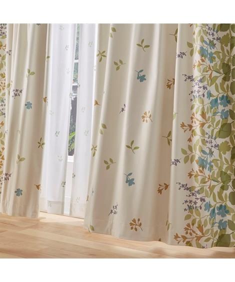 風にそよぐリーフ柄遮熱・防音・1級遮光カーテン&遮熱・昼間見えにくいレース4枚セット カーテン&レースセット, Curtains, sheer curtains, net curtains(ニッセン、nissen)