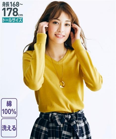 トールサイズ 洗える綿100%Vネックセーター 【高身長・長...